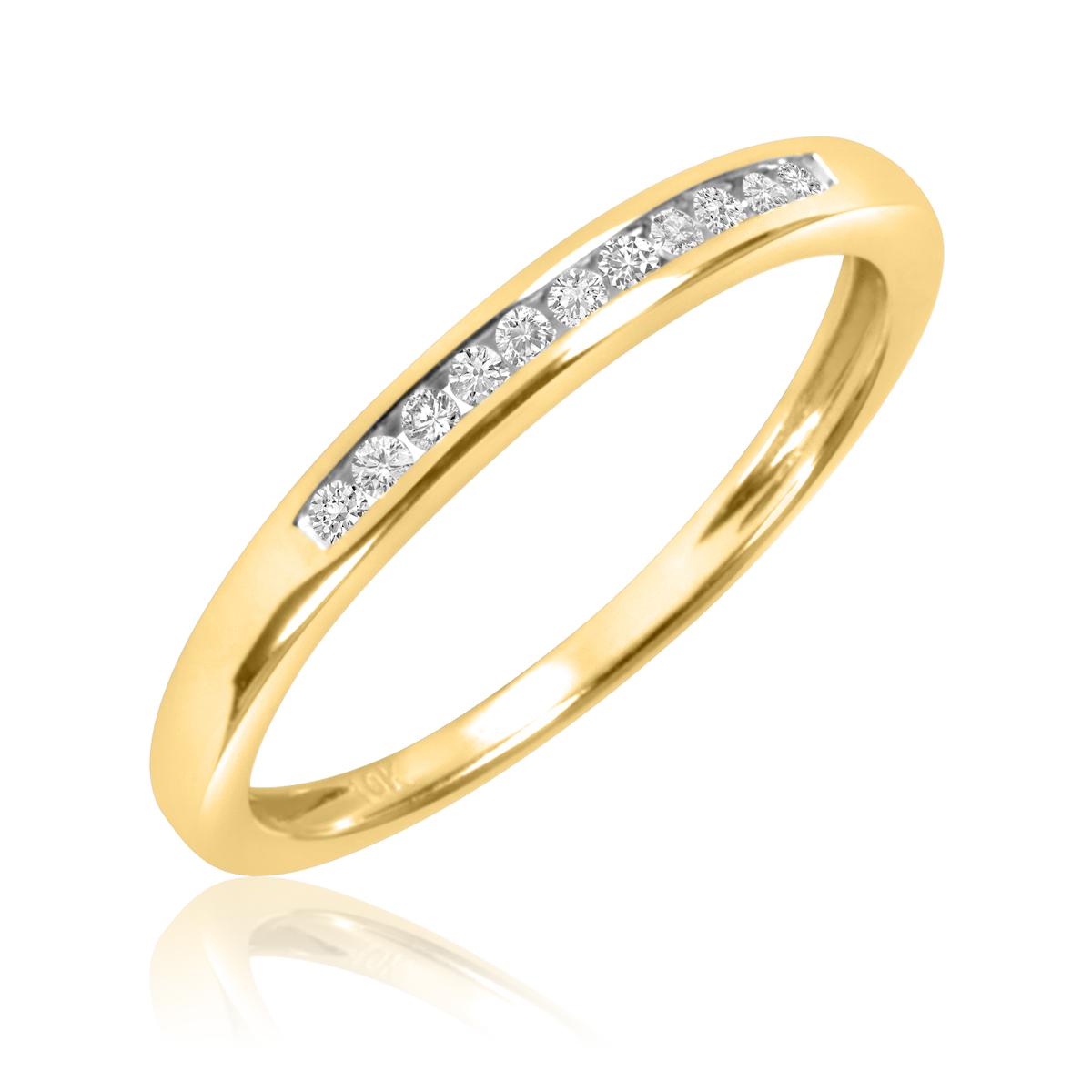 1/10 CT. T.W. Round Cut Diamond Ladies Wedding Band 10K Yellow Gold- Size 8