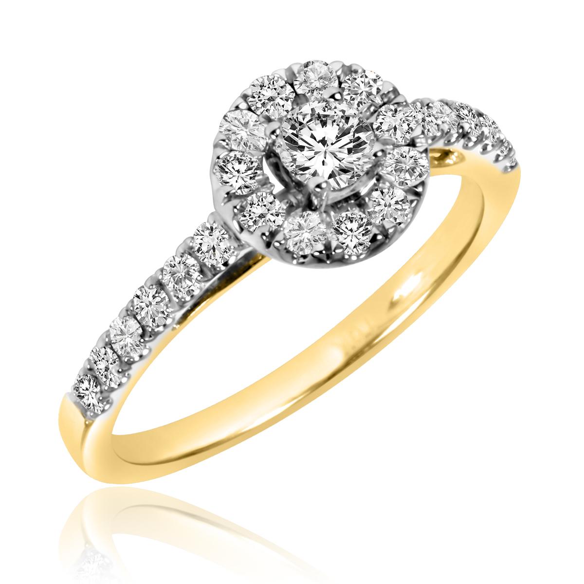 2/3 CT. T.W. Round Cut Diamond Ladies Engagement Ring 10K Yellow Gold- Size 8