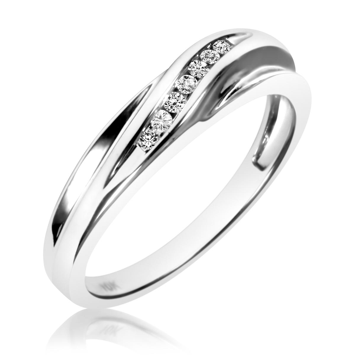 1/15 Carat T.W. Round Cut Diamond Ladies Wedding Band 10K White Gold- Size 8