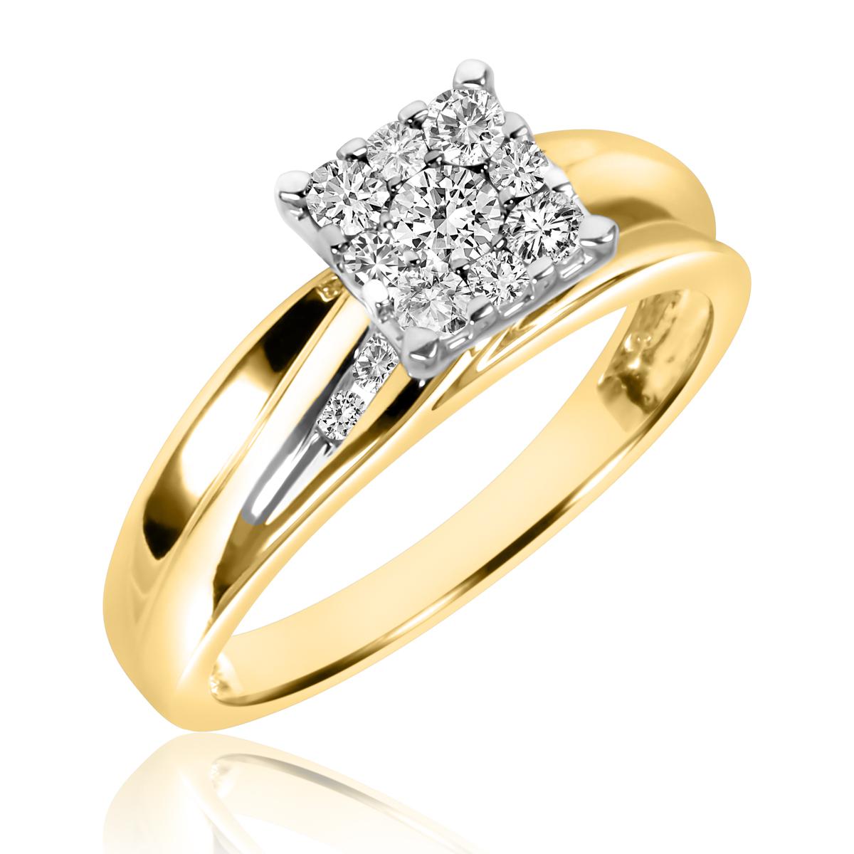 3/8 CT. T.W. Round Cut Diamond Ladies Engagement Ring 14K Yellow Gold- Size 8