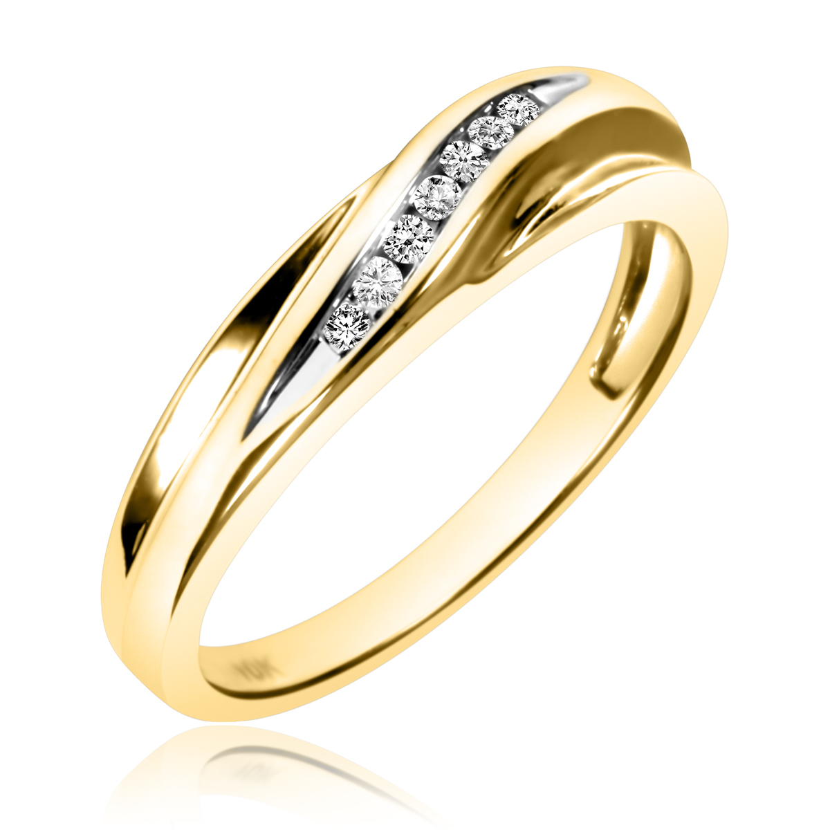 1/15 Carat T.W. Round Cut Diamond Ladies Wedding Band 14K Yellow Gold- Size 8