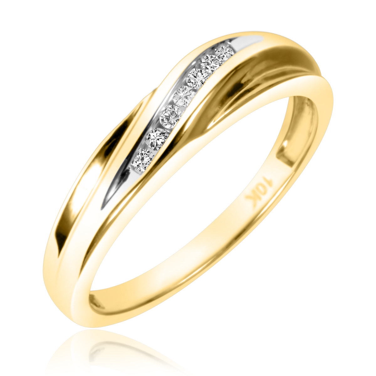 1/10 Carat T.W. Round Cut Diamond Men's Wedding Band 10K Yellow Gold- Size 8