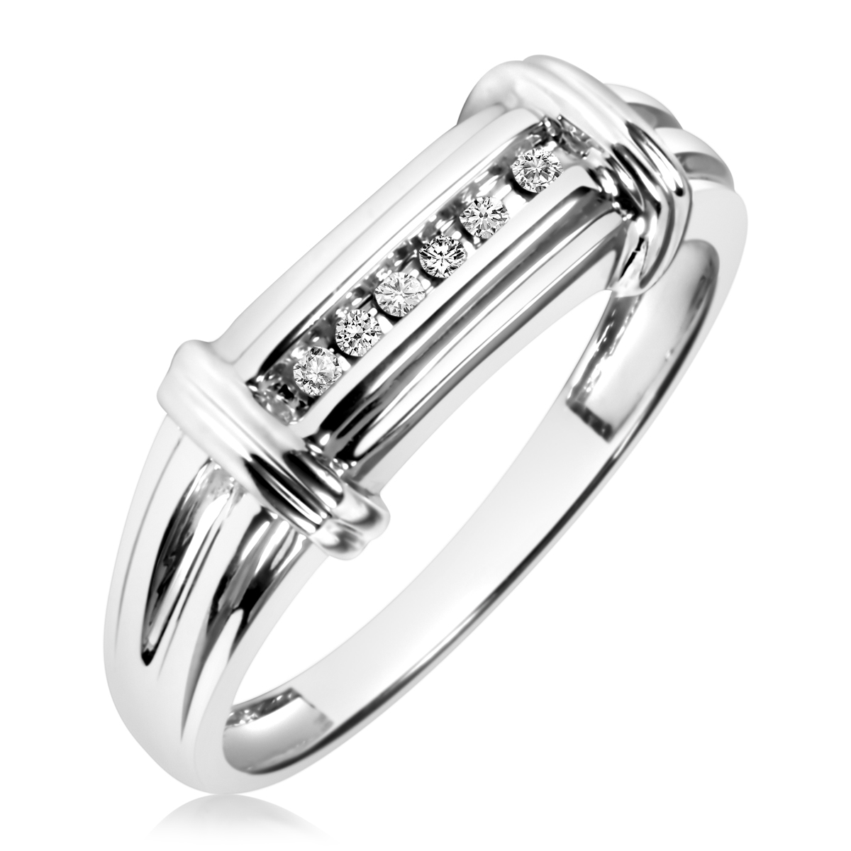 1/10 CT. T.W. Round Cut Diamond Men's Wedding Band 10K White Gold- Size 8