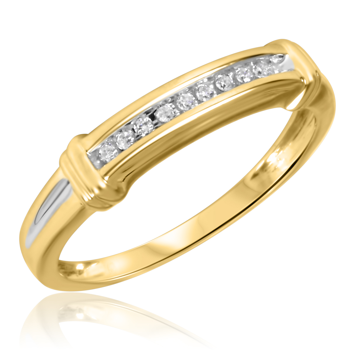 1/10 CT. T.W. Round Cut Diamond Ladies Wedding Band 10K Yellow Gold- Size 8