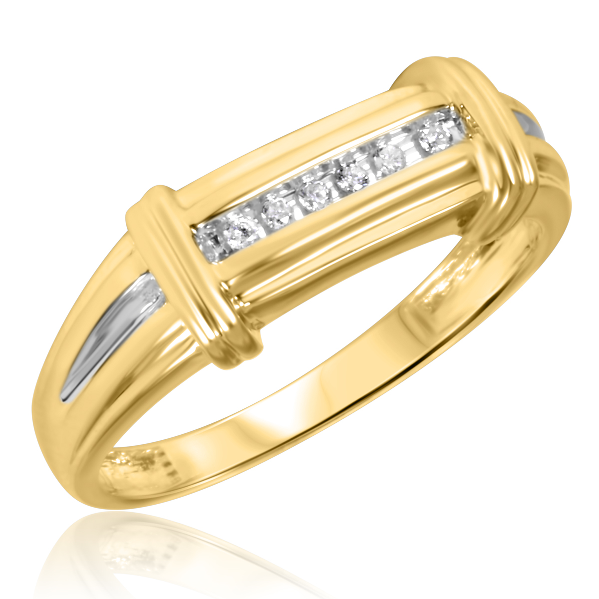 1/10 CT. T.W. Round Cut Diamond Men's Wedding Band 10K Yellow Gold- Size 8