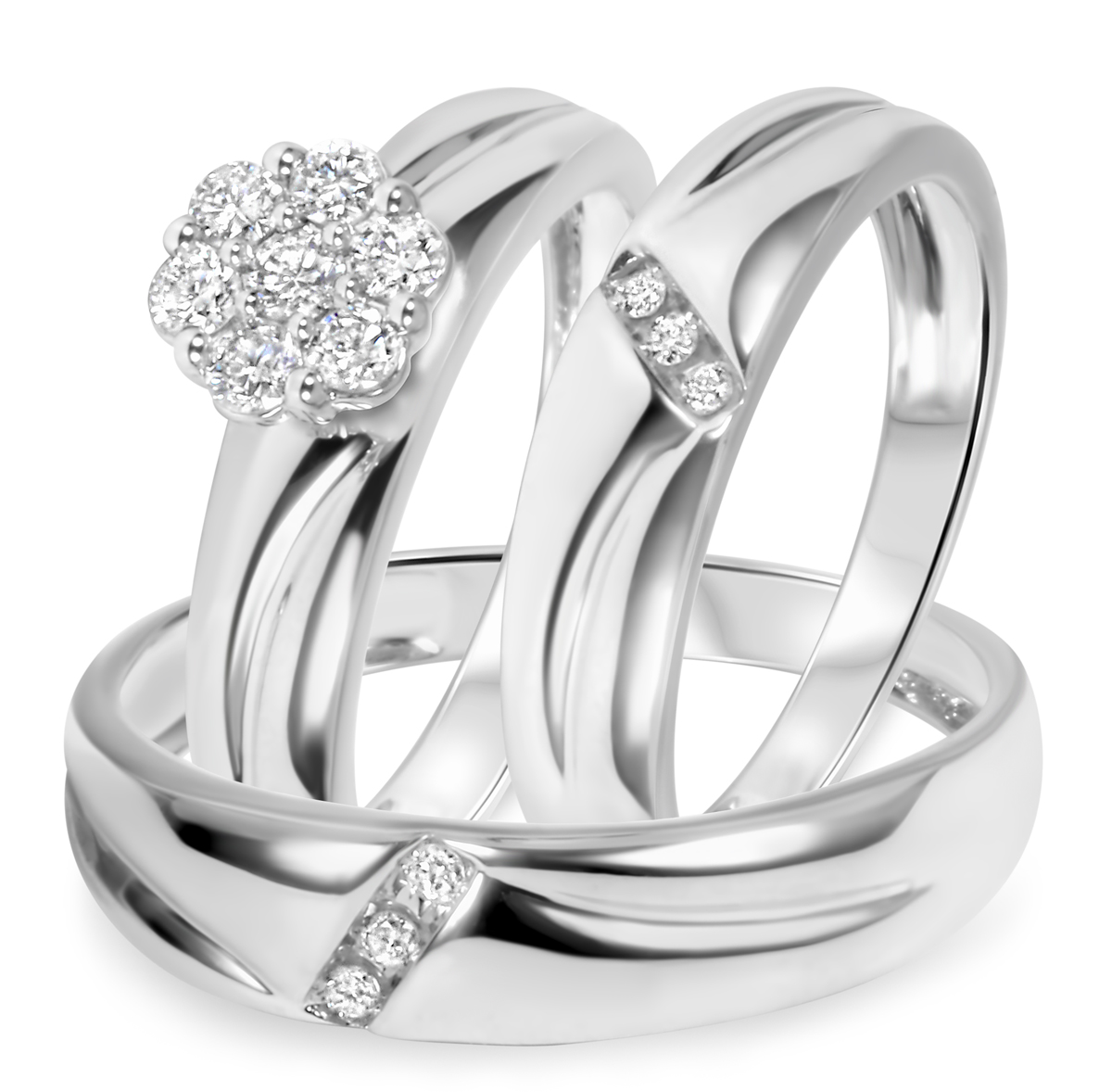 1/2 CT. T.W. Round Cut Diamond His and Hers Engagement Ring, Ladies Wedding