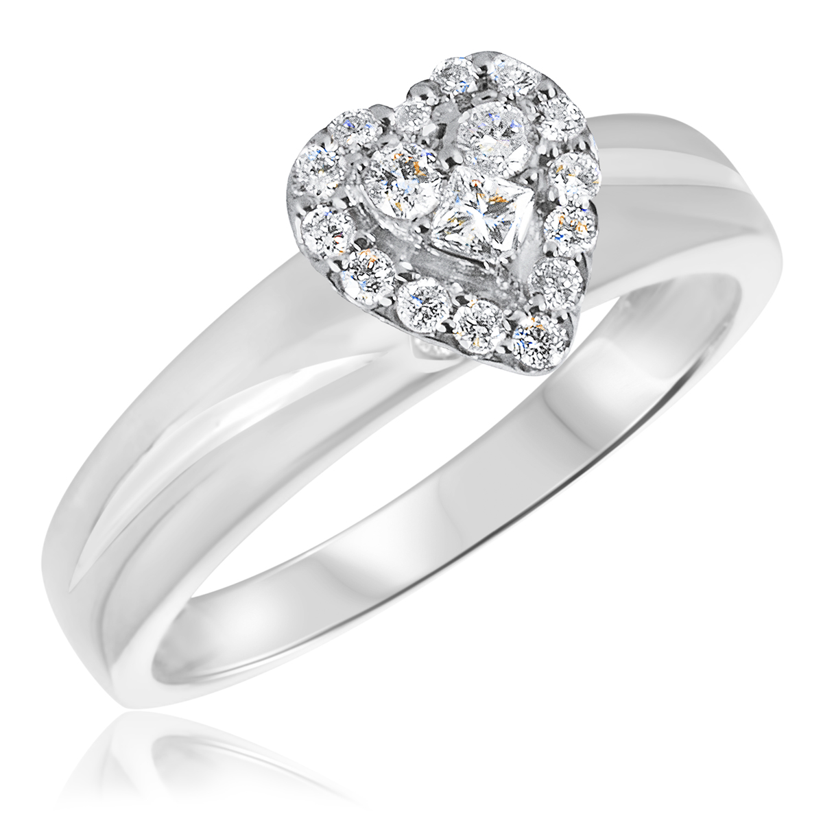 1/3 CT. T.W. Diamond Ladies Engagement Ring 14K White Gold- Size 8