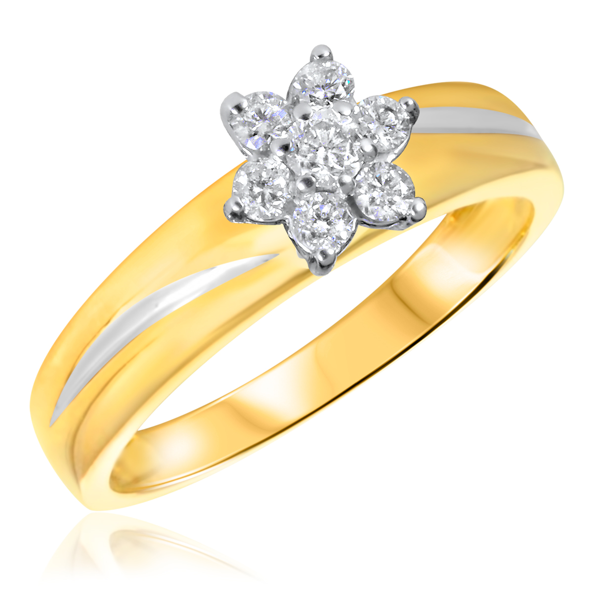 1/4 CT. T.W. Diamond Ladies Engagement Ring 14K Yellow Gold- Size 8
