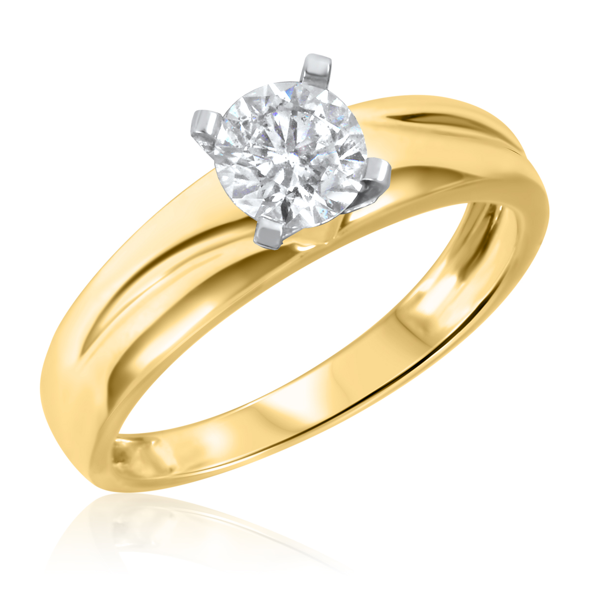 1/2 CT. T.W. Diamond Ladies Engagement Ring 10K Yellow Gold- Size 8