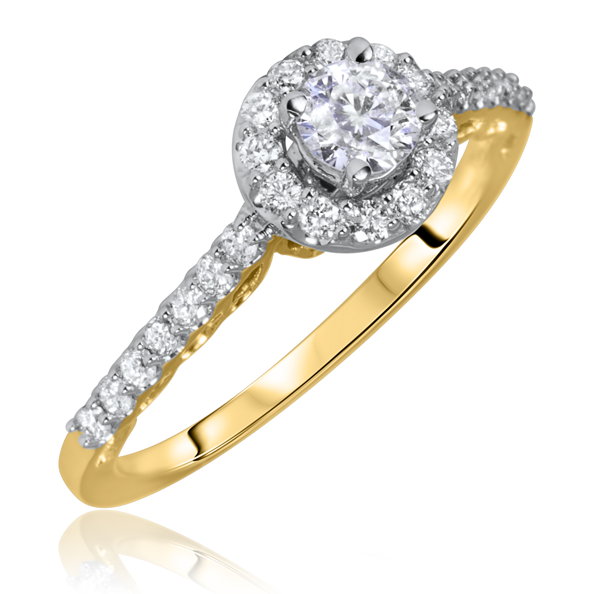 3/4 Carat T.W. Round Cut Diamond Ladies Engagement Ring 10K Yellow Gold- Size 8
