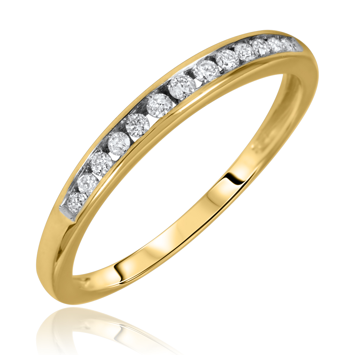 1/8 Carat T.W. Round Cut Diamond Ladies Wedding Band 14K Yellow Gold- Size 8