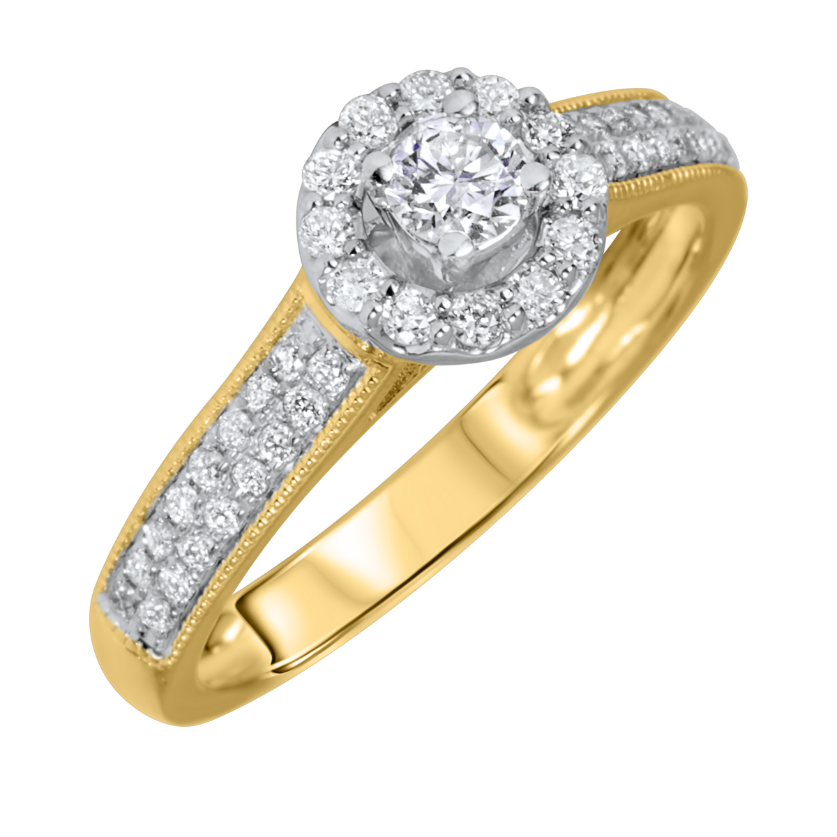 1/2 Carat T.W. Round Cut Diamond Ladies Engagement Ring 14K Yellow Gold- Size 8