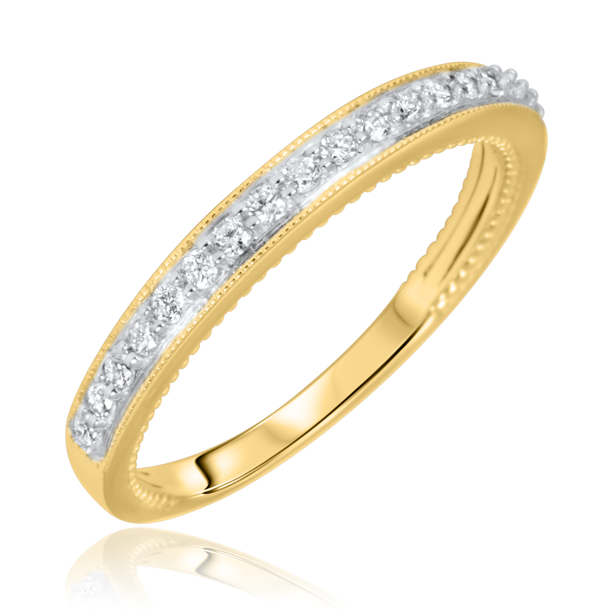 1/5 Carat T.W. Round Cut Diamond Ladies Wedding Band 14K Yellow Gold- Size 8