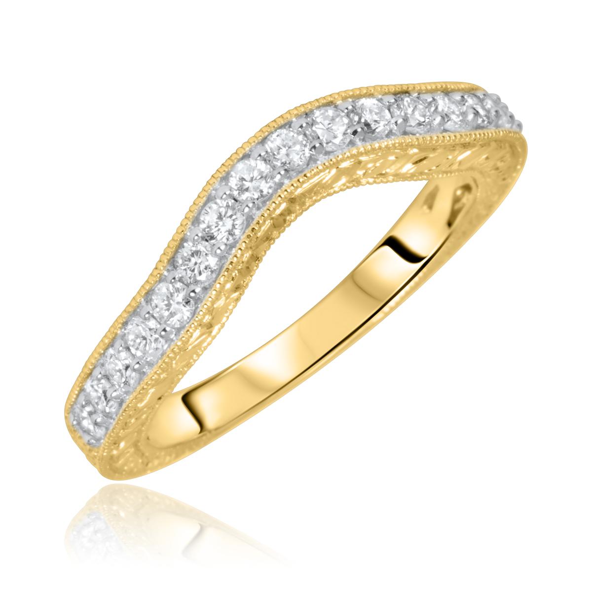 1/2 Carat T.W. Round Cut Diamond Ladies Wedding Band 10K Yellow Gold- Size 8