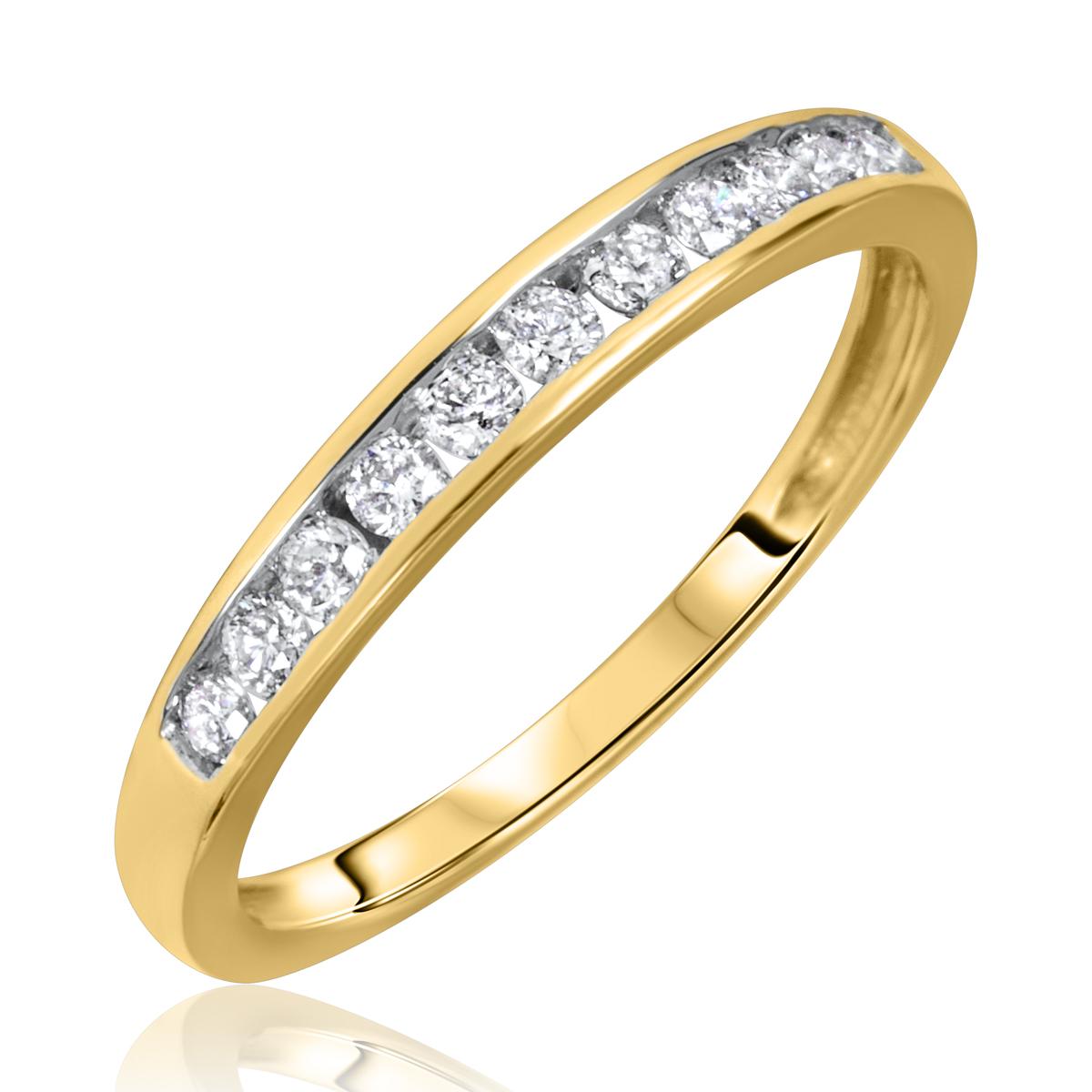 1/4 Carat T.W. Round Cut Diamond Ladies Wedding Band 10K Yellow Gold- Size 8
