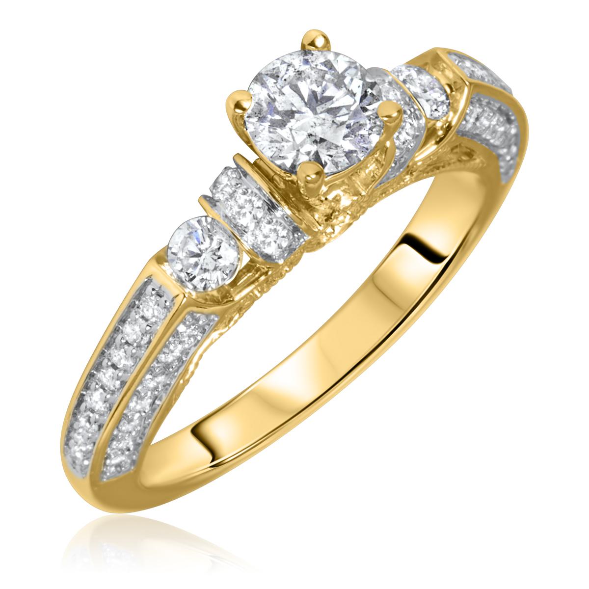 1 1/10 Carat T.W. Round Cut Diamond Ladies Engagement Ring 10K Yellow Gold- Size