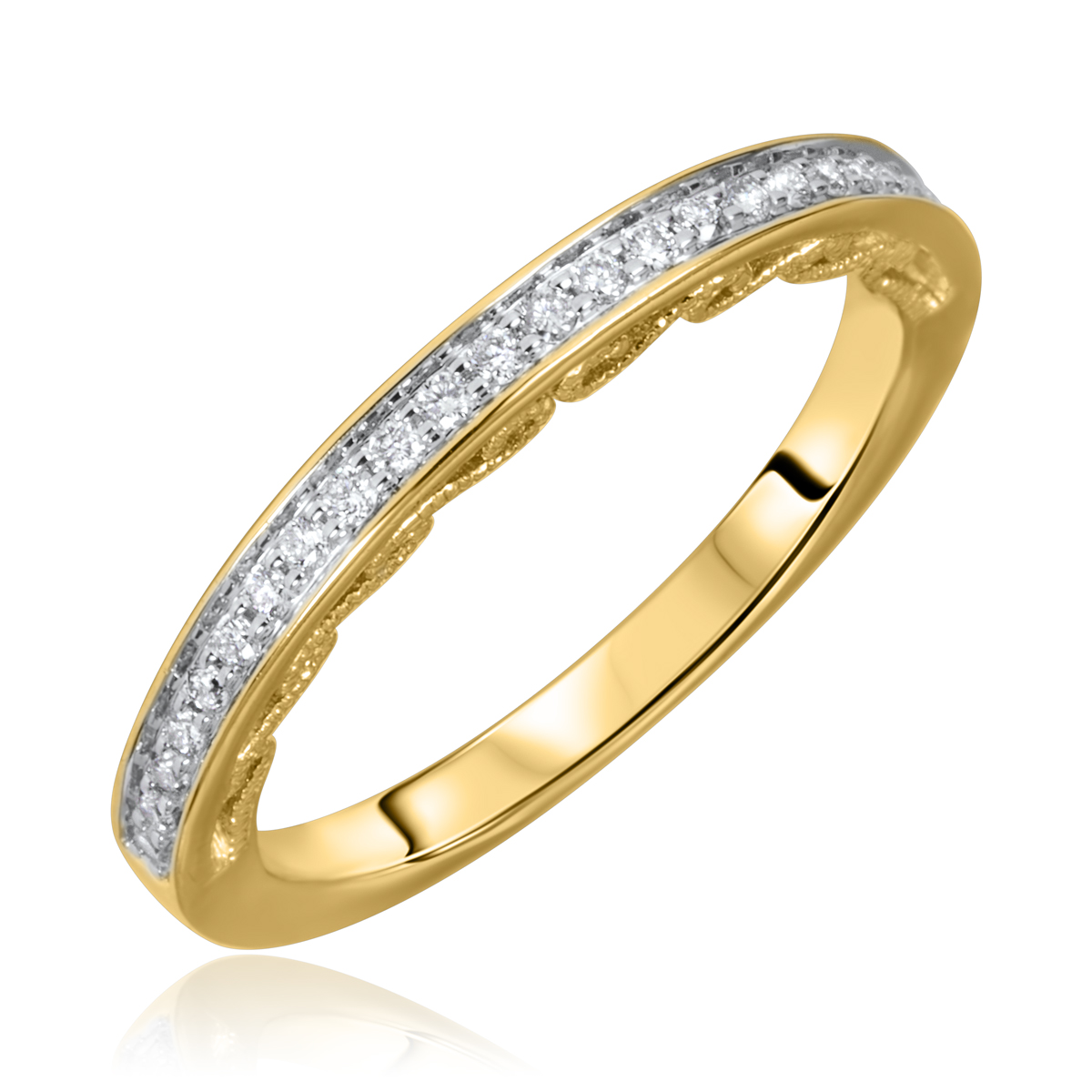 1/6 Carat T.W. Round Cut Diamond Ladies Wedding Band 10K Yellow Gold- Size 8