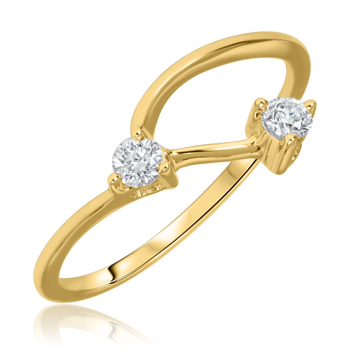 1/5 Carat T.W. Round Cut Diamond Ladies Wedding Band 10K Yellow Gold- Size 8
