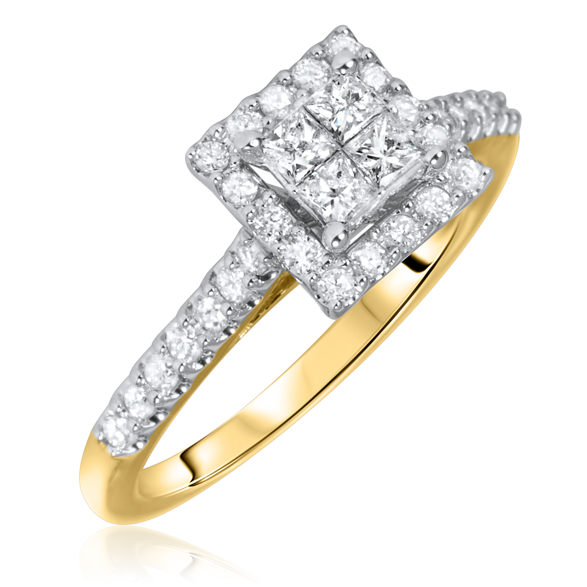 5/8 Carat T.W. Princess, Round Cut Diamond Ladies Engagement Ring 14K Yellow