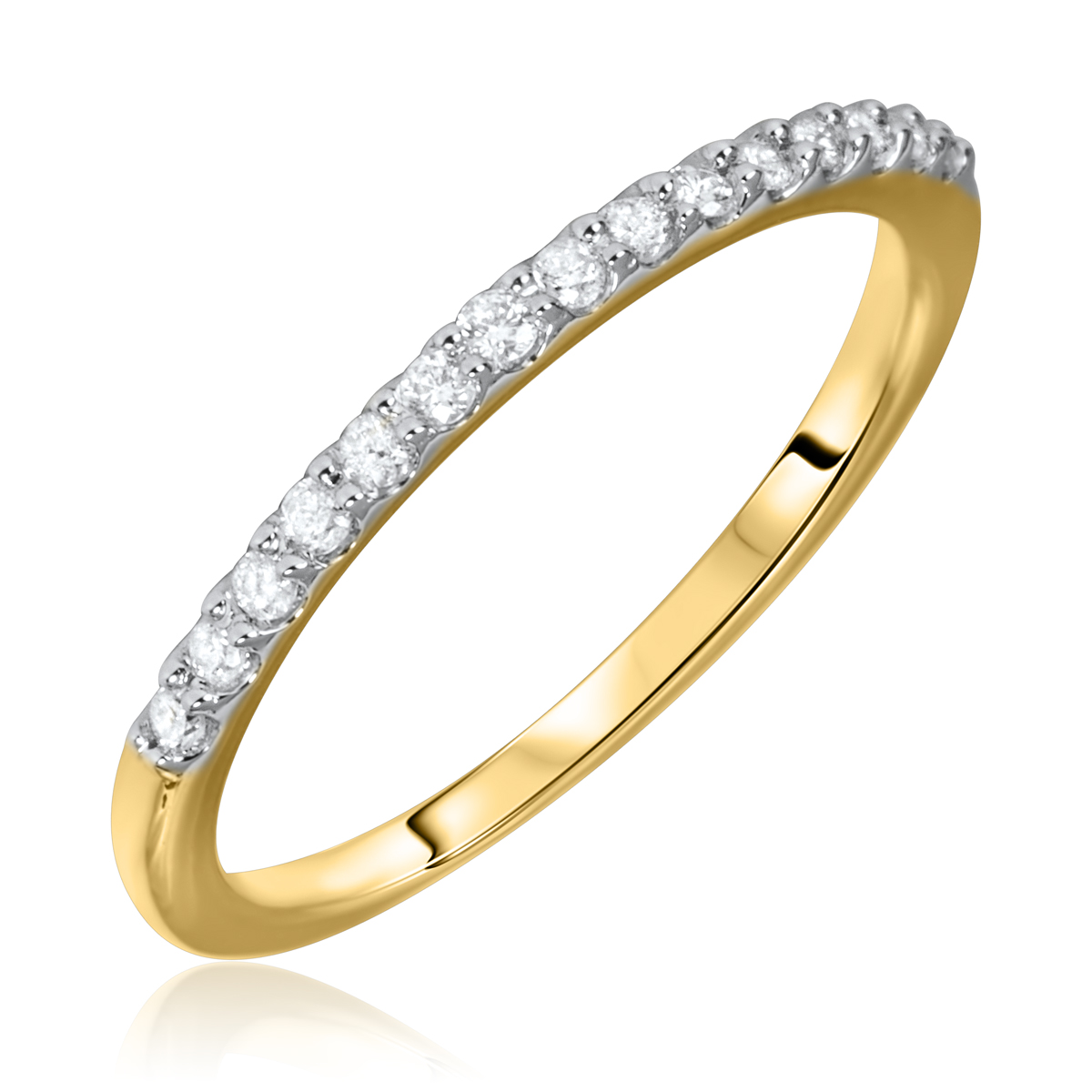 1/6 Carat T.W. Round Cut Diamond Ladies Wedding Band 14K Yellow Gold- Size 8