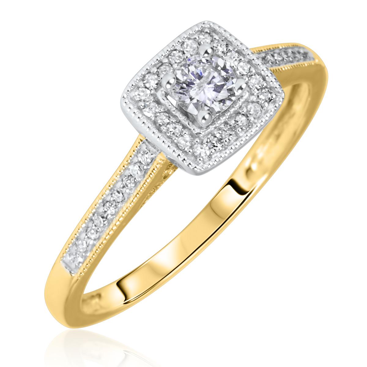 1/5 Carat T.W. Round Cut Diamond Ladies Engagement Ring 14K Yellow Gold- Size 8