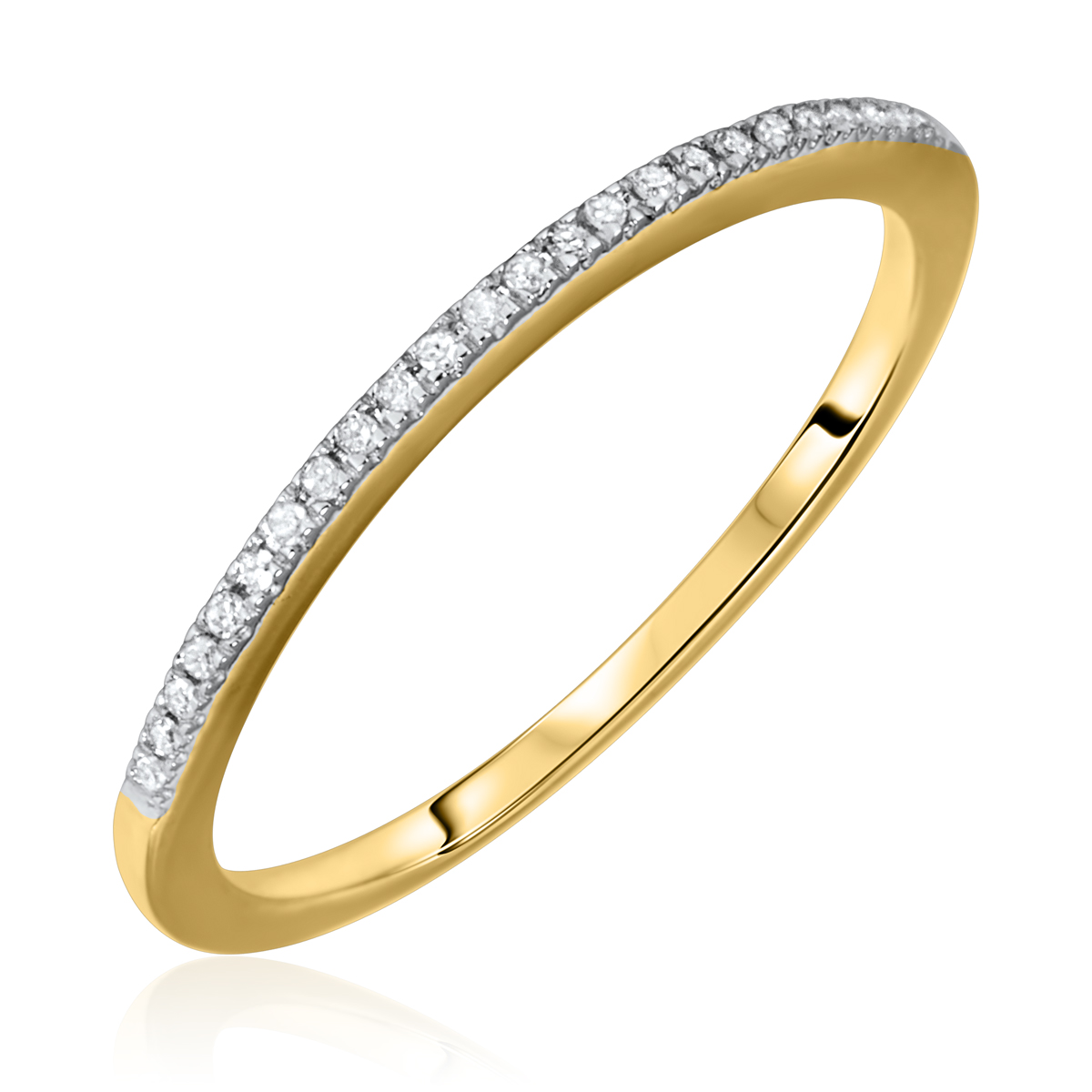 1/10 Carat T.W. Round Cut Diamond Ladies Wedding Band 10K Yellow Gold- Size 8