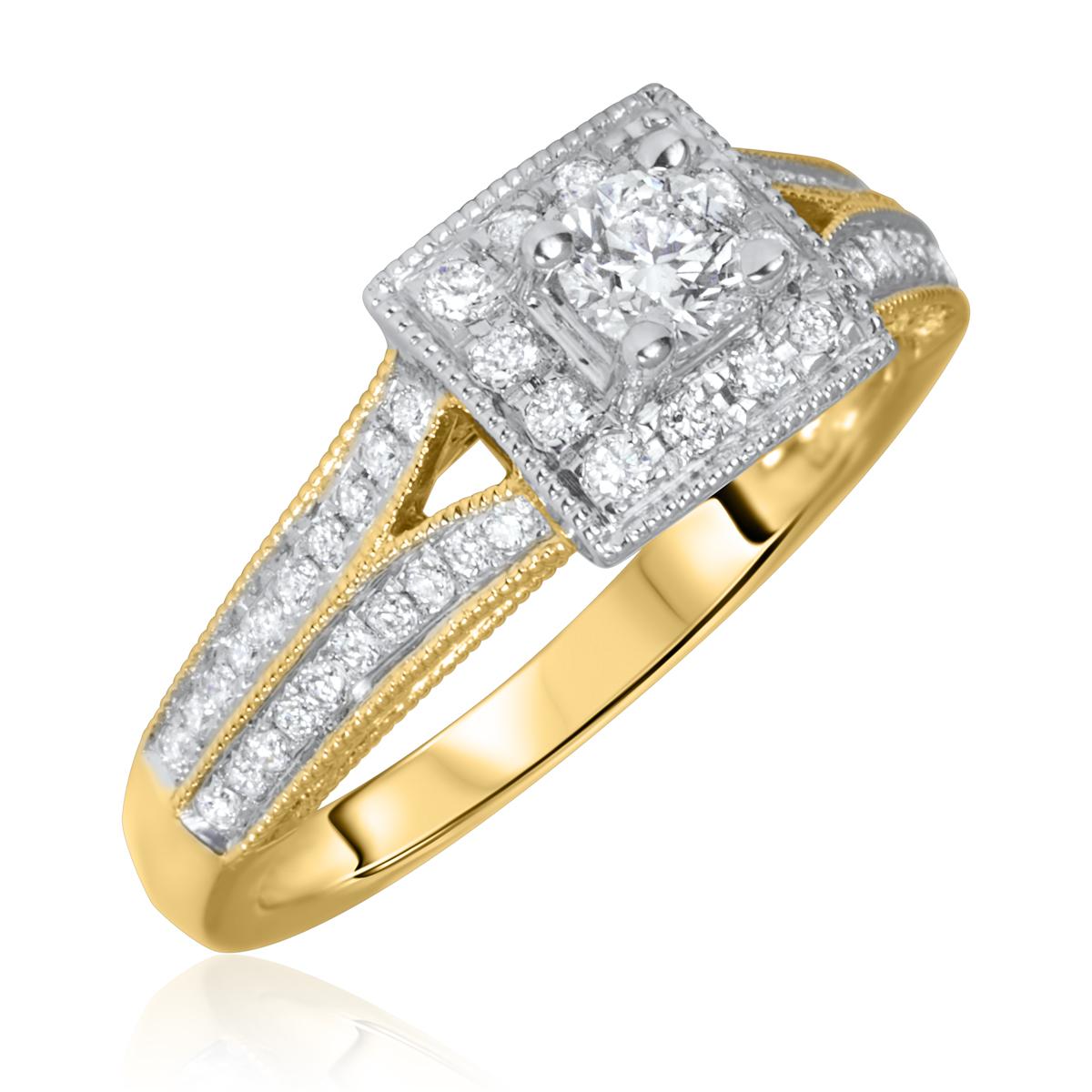 7/8 Carat T.W. Round Cut Diamond Ladies Engagement Ring 10K Yellow Gold- Size 8