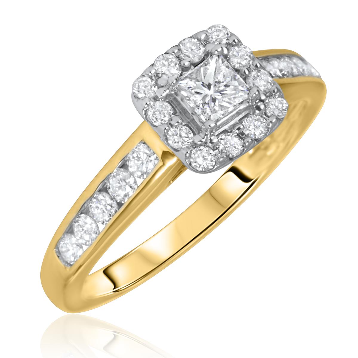 3/4 Carat T.W. Princess, Round Cut Diamond Ladies Engagement Ring 14K Yellow