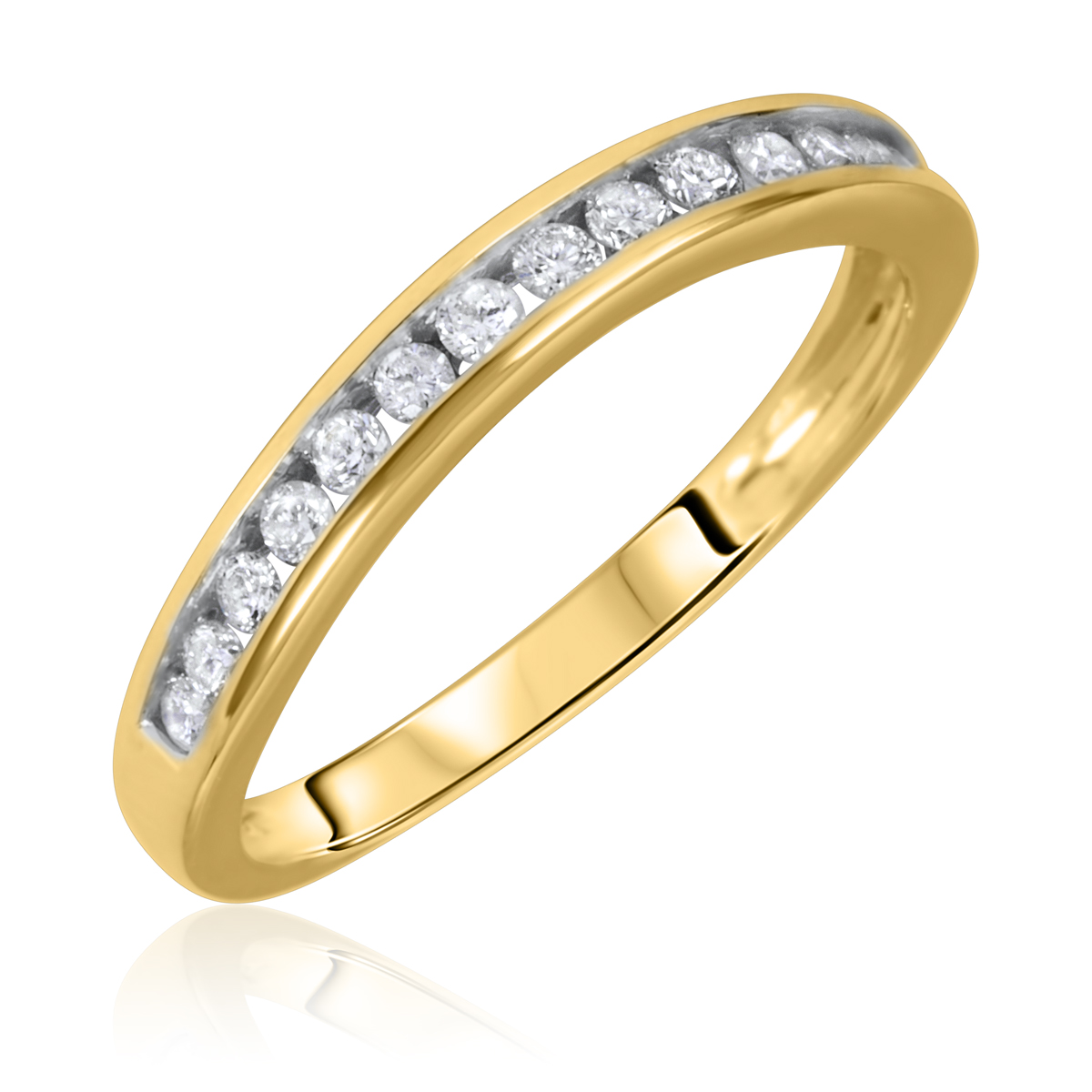 1/4 Carat T.W. Round Cut Diamond Ladies Wedding Band 10K Yellow Gold- Size 8