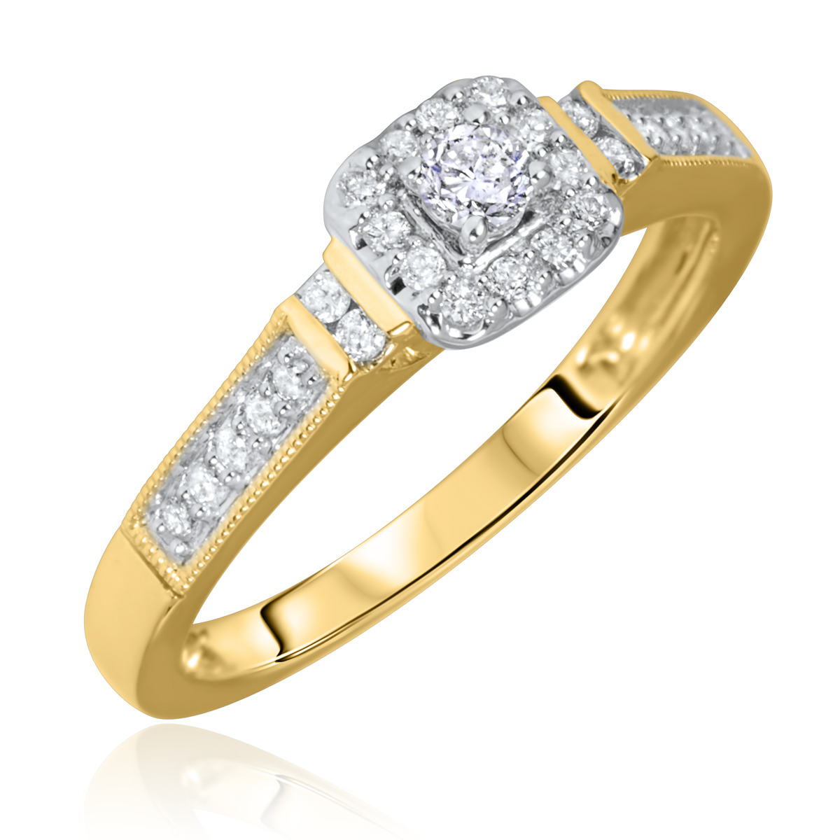 1/5 Carat T.W. Rounds Cut Diamond Ladies Engagement Ring 14K Yellow Gold- Size 8