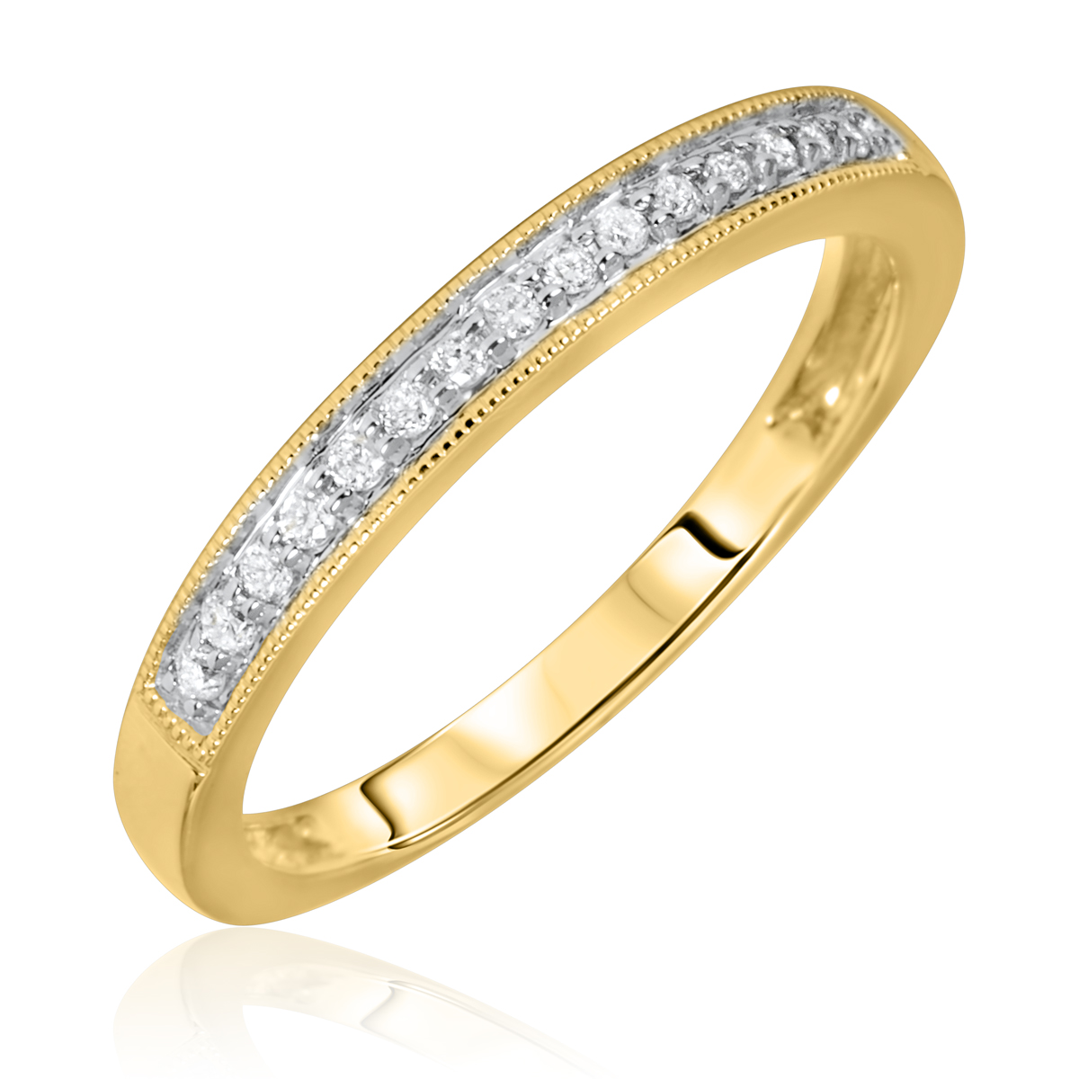 1/10 Carat T.W. Rounds Cut Diamond Ladies Wedding Band 10K Yellow Gold- Size 8