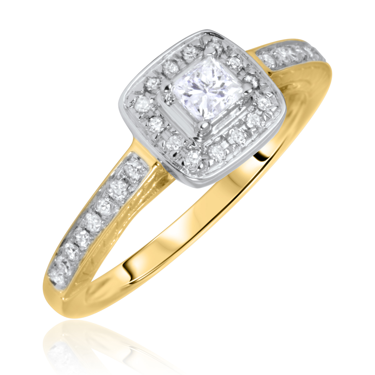 3/8 Carat T.W. Solitaire, Princess, Round Cut Diamond Ladies Engagement Ring 10K