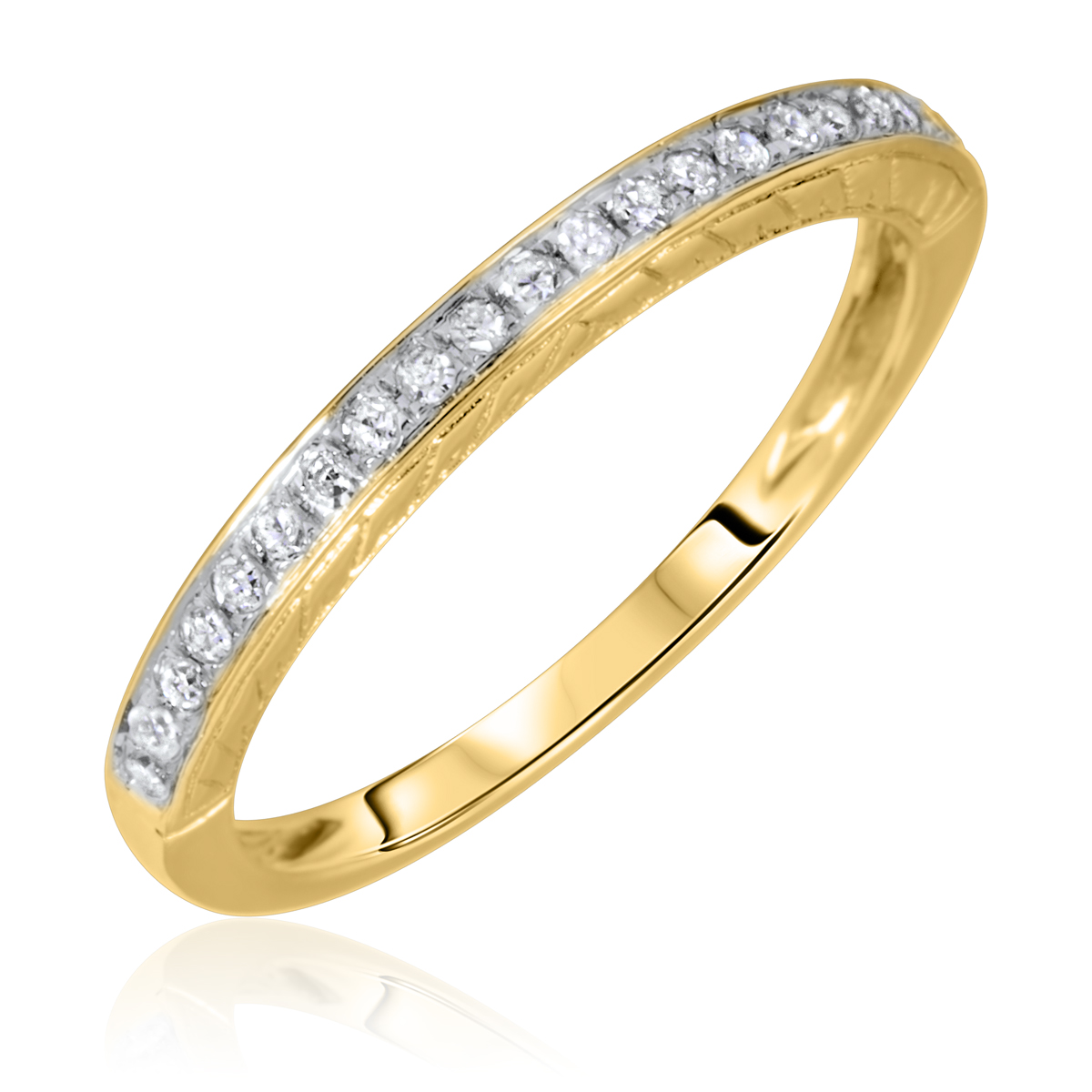 1/8 Carat T.W. Rounds Cut Diamond Ladies Wedding Band 14K Yellow Gold- Size 8
