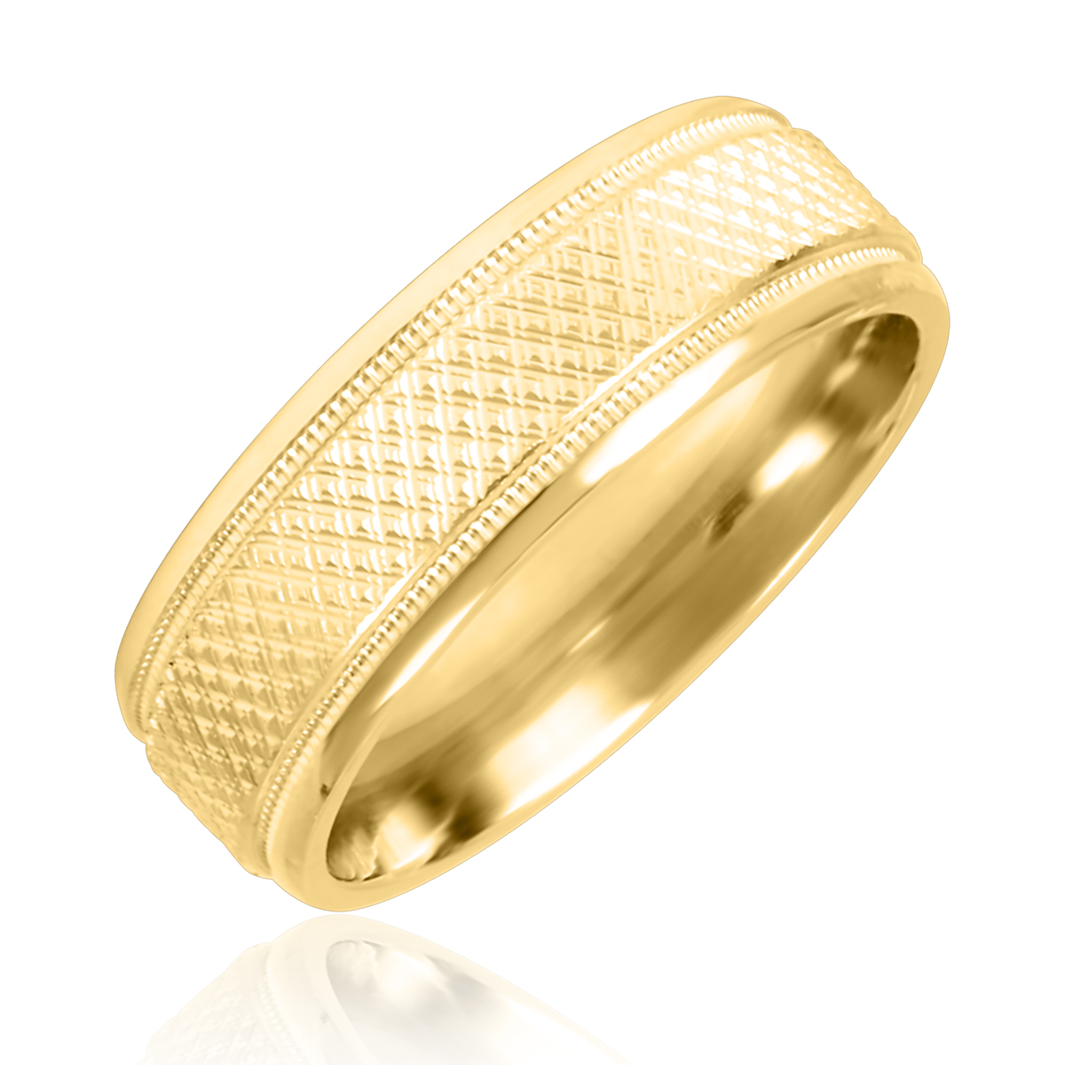 Zig-Zag Mens Wedding Band 10K Yellow Gold- Size 8