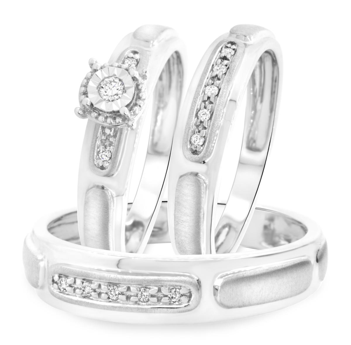 1/8 Carat T.W. Round Cut Diamond Matching Trio Wedding Ring Set 14K White Gold-