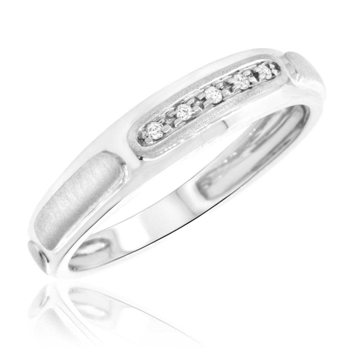 1/25 Carat T.W. Round Cut Diamond Ladies Wedding Band 14K White Gold- Size 8