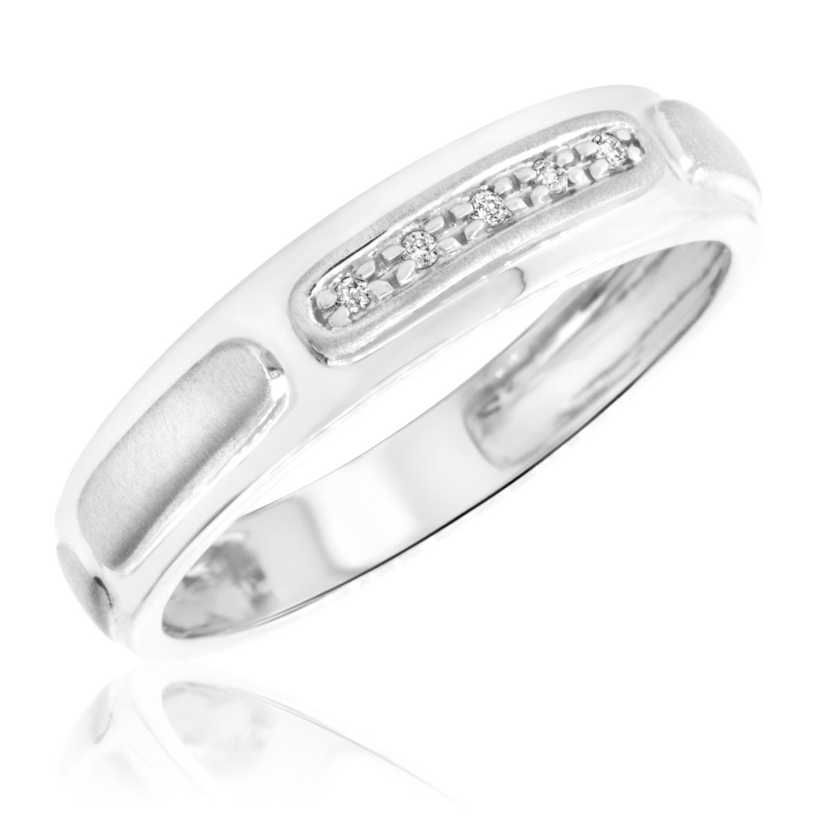 1/20 Carat T.W. Round Cut Diamond Mens Wedding Band 10K White Gold- Size 8
