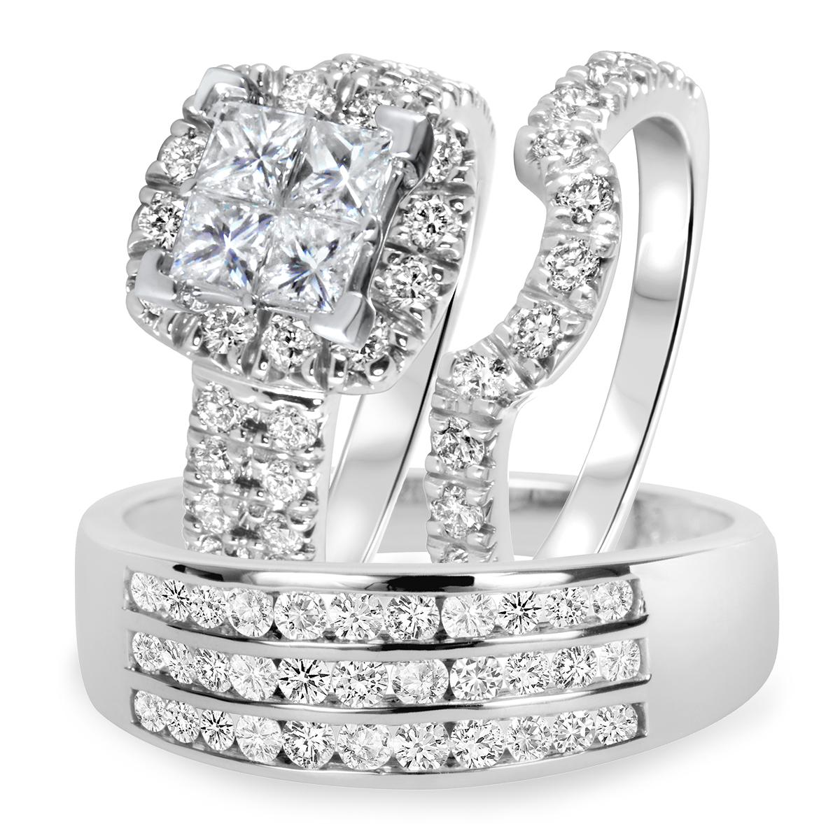 2 2/3 CT. T.W. Diamond Ladies Engagement Ring, Wedding Band, Men's Wedding Band