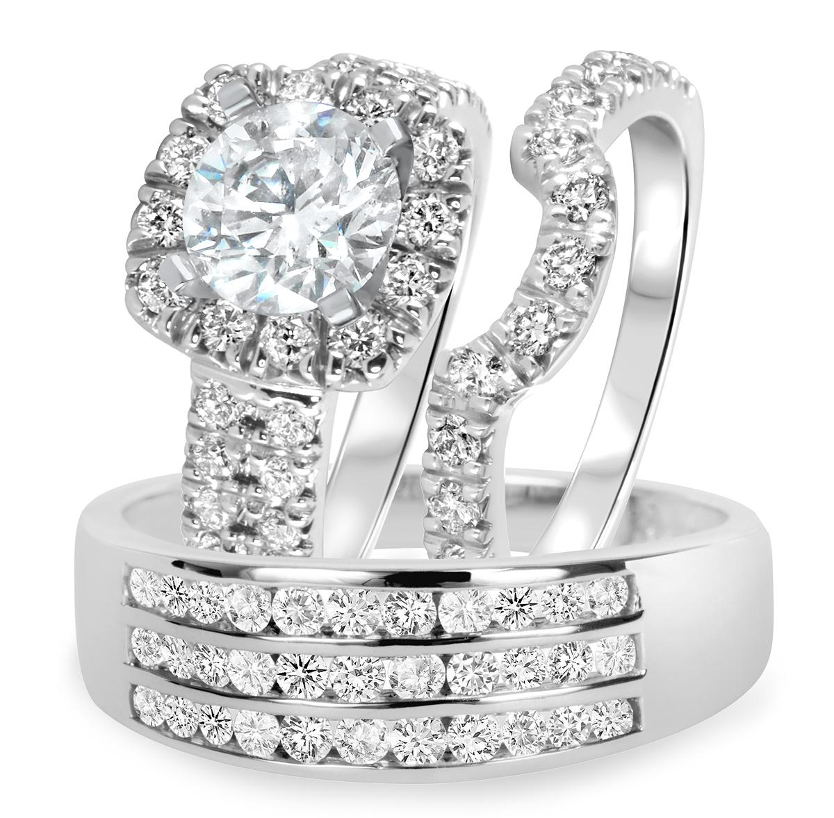 3 CT. T.W. Diamond Ladies Engagement Ring, Wedding Band, Men's Wedding Band