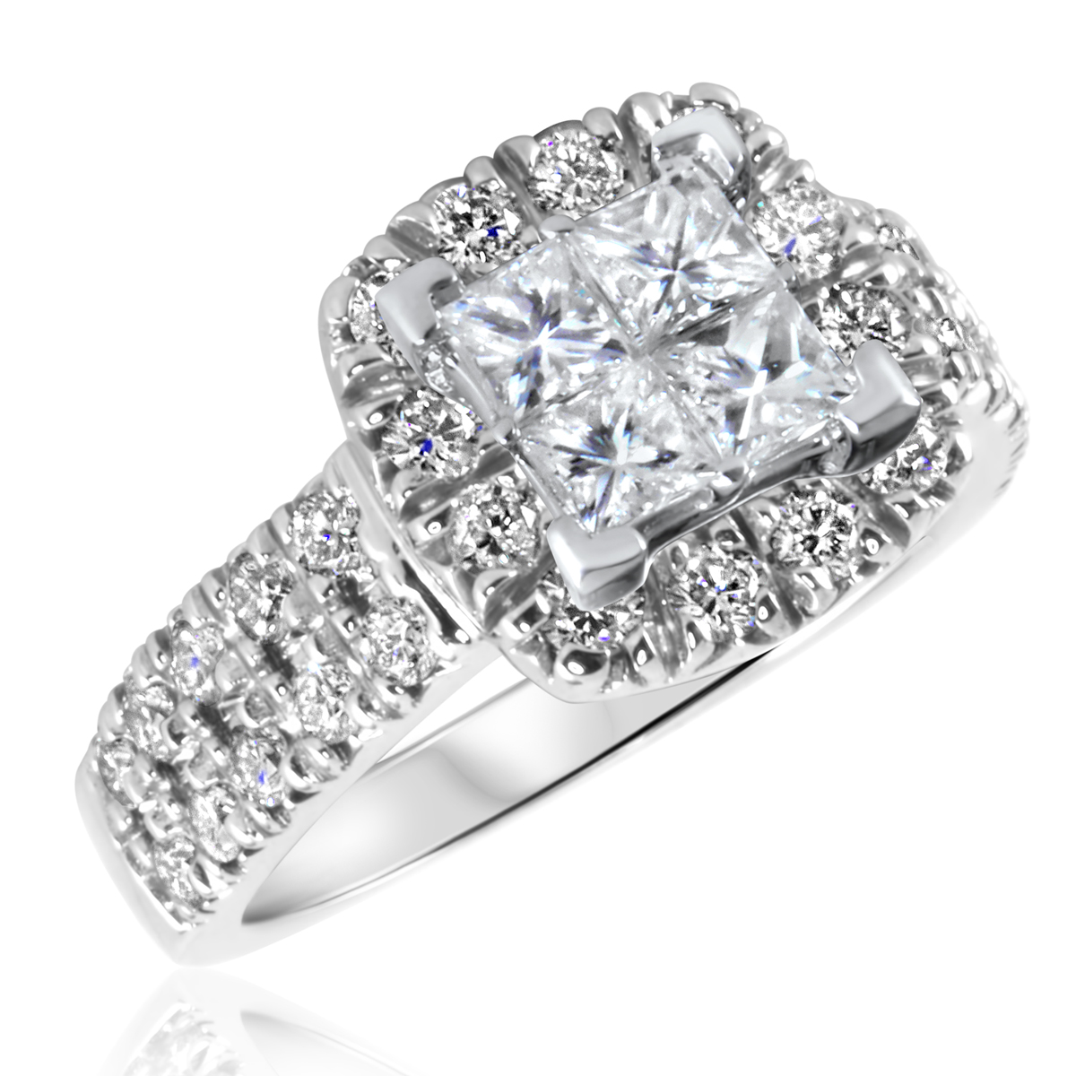 1 5/8 CT. T.W. Diamond Ladies Engagement Ring 14K White Gold- Size 8