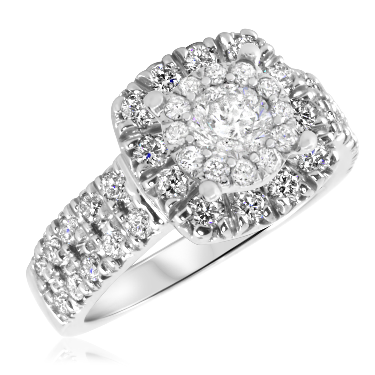 1 1/2 CT. T.W. Diamond Ladies Engagement Ring 14K White Gold- Size 8