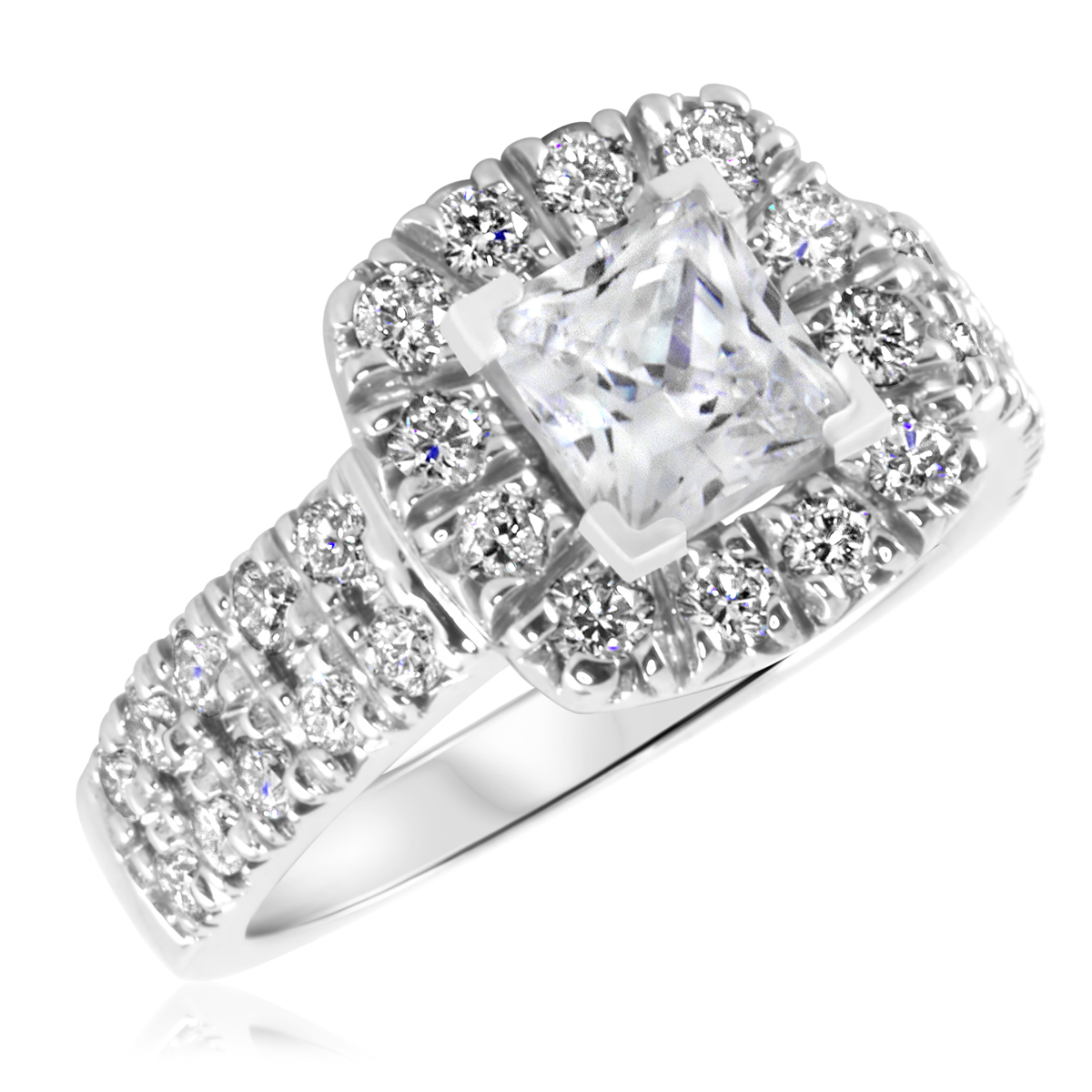 2 1/10 CT. T.W. Diamond Ladies Engagement Ring 10K White Gold- Size 8