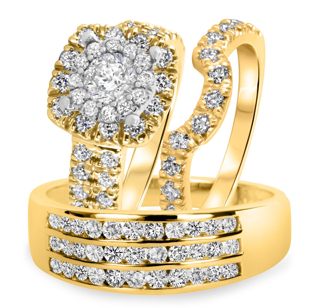 2 1/2 CT. T.W. Diamond Ladies Engagement Ring, Wedding Band, Men's Wedding Band