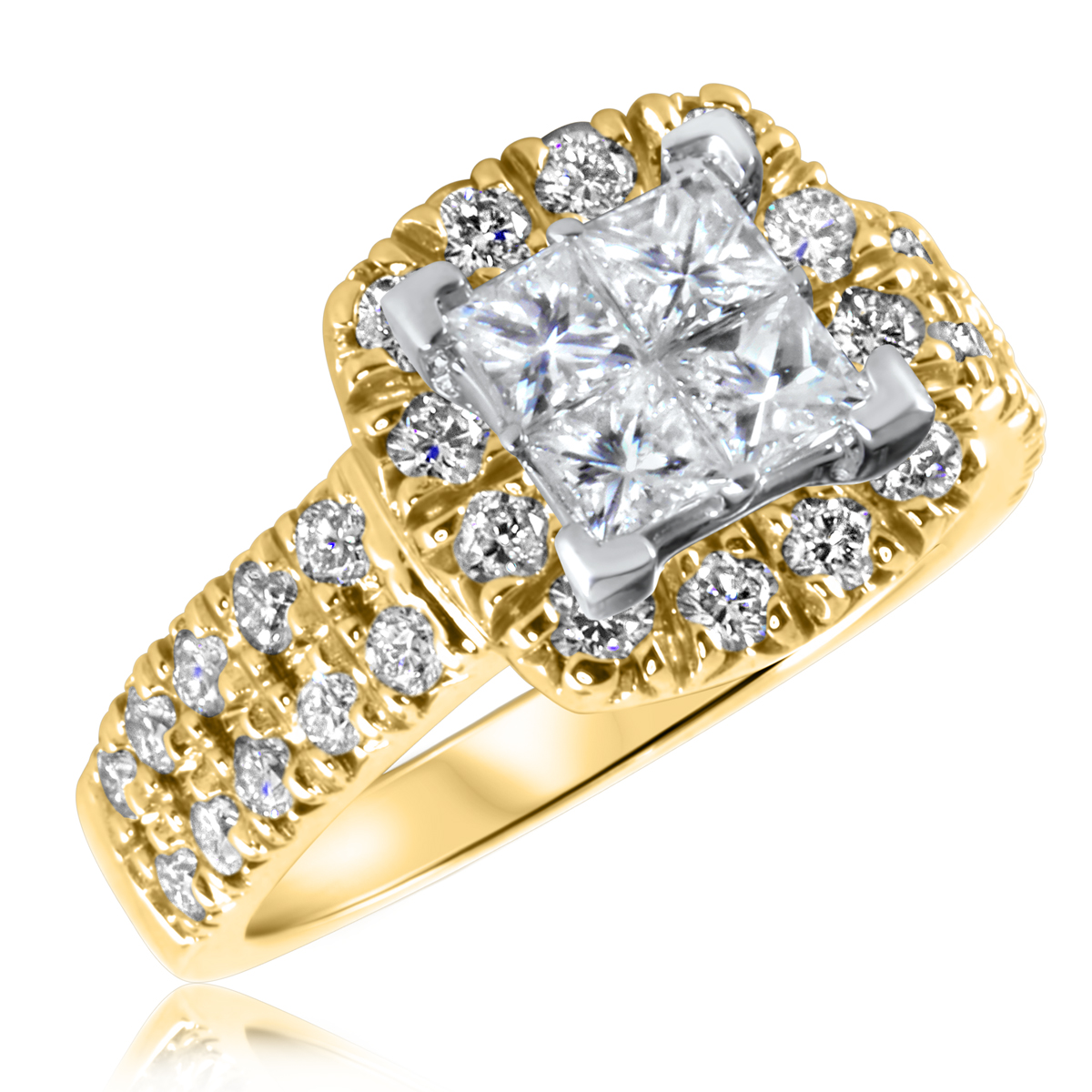 1 5/8 CT. T.W. Diamond Ladies Engagement Ring 14K Yellow Gold- Size 8