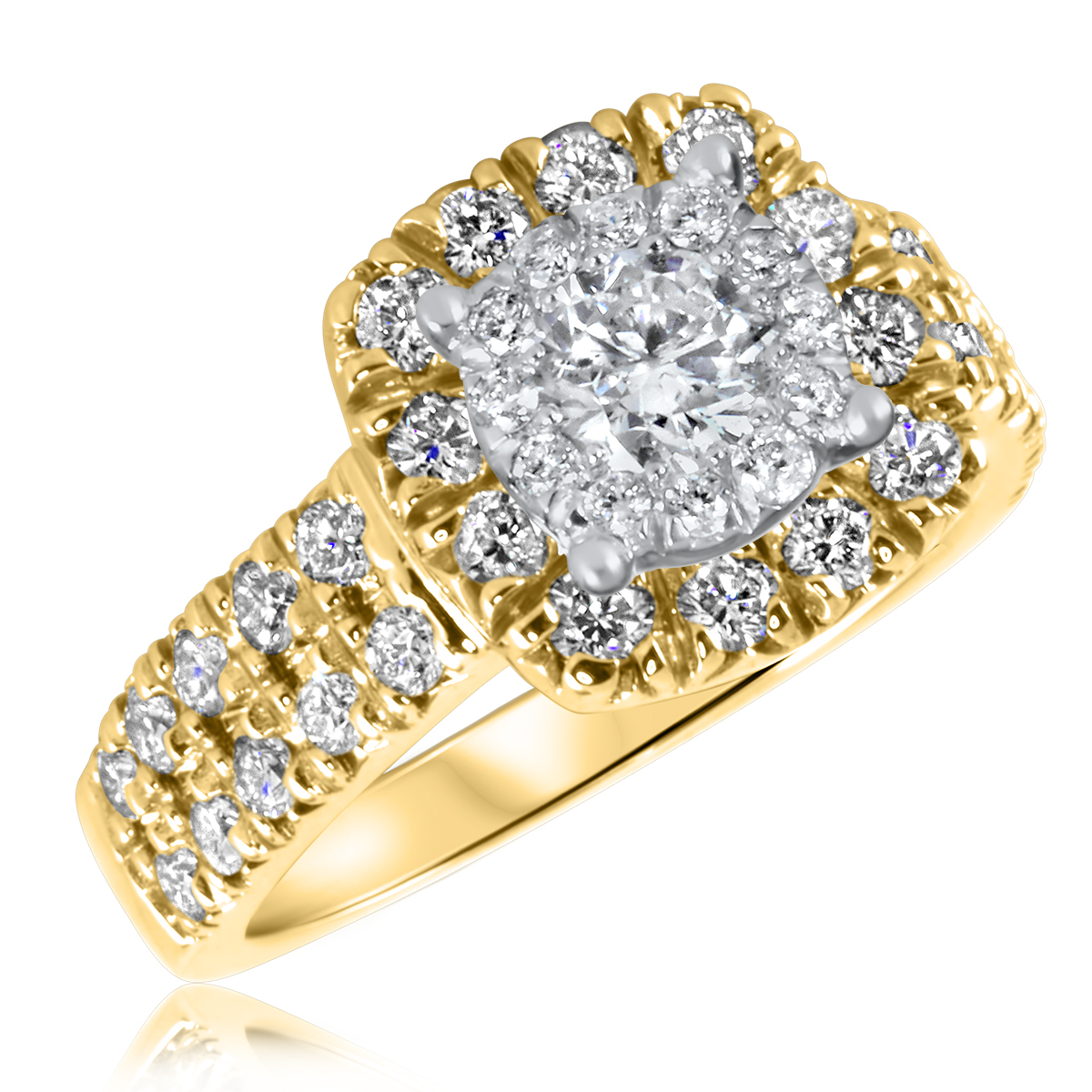 1 1/2 CT. T.W. Diamond Ladies Engagement Ring 14K Yellow Gold- Size 8