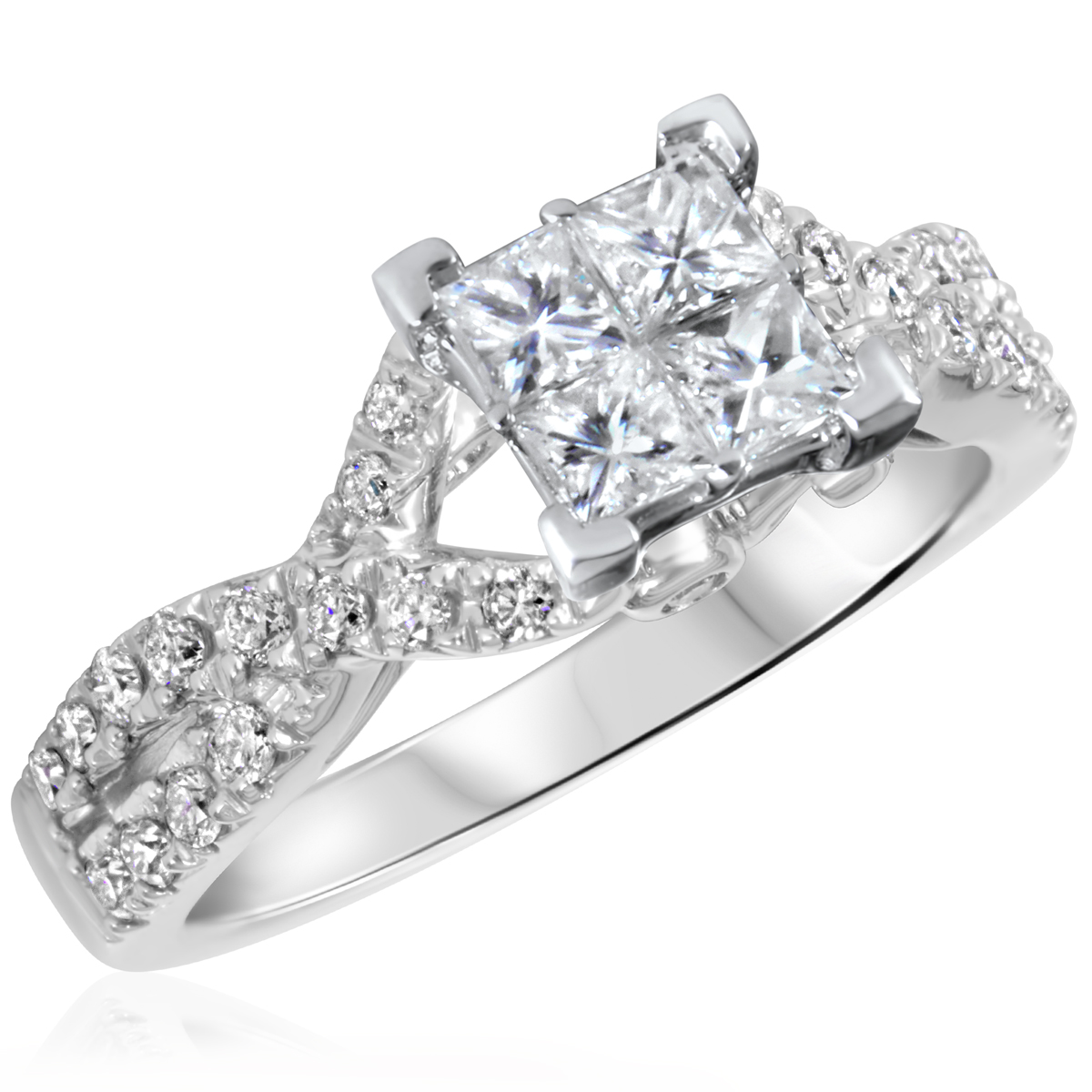 1 CT. T.W. Diamond Ladies Engagement Ring 14K White Gold- Size 8