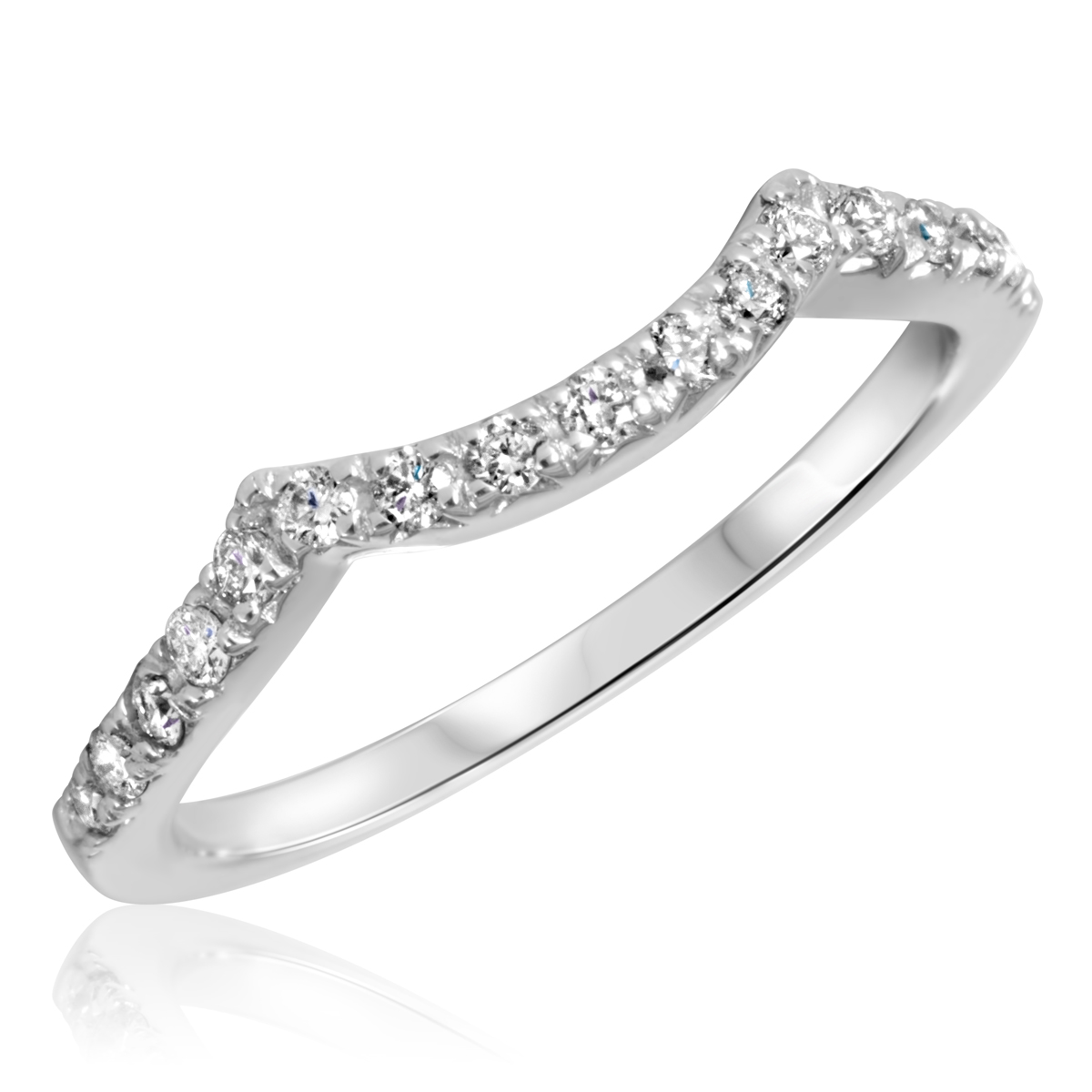 1/3 Carat T.W. Round Cut Diamond Ladies Wedding Band 14K White Gold- Size 8