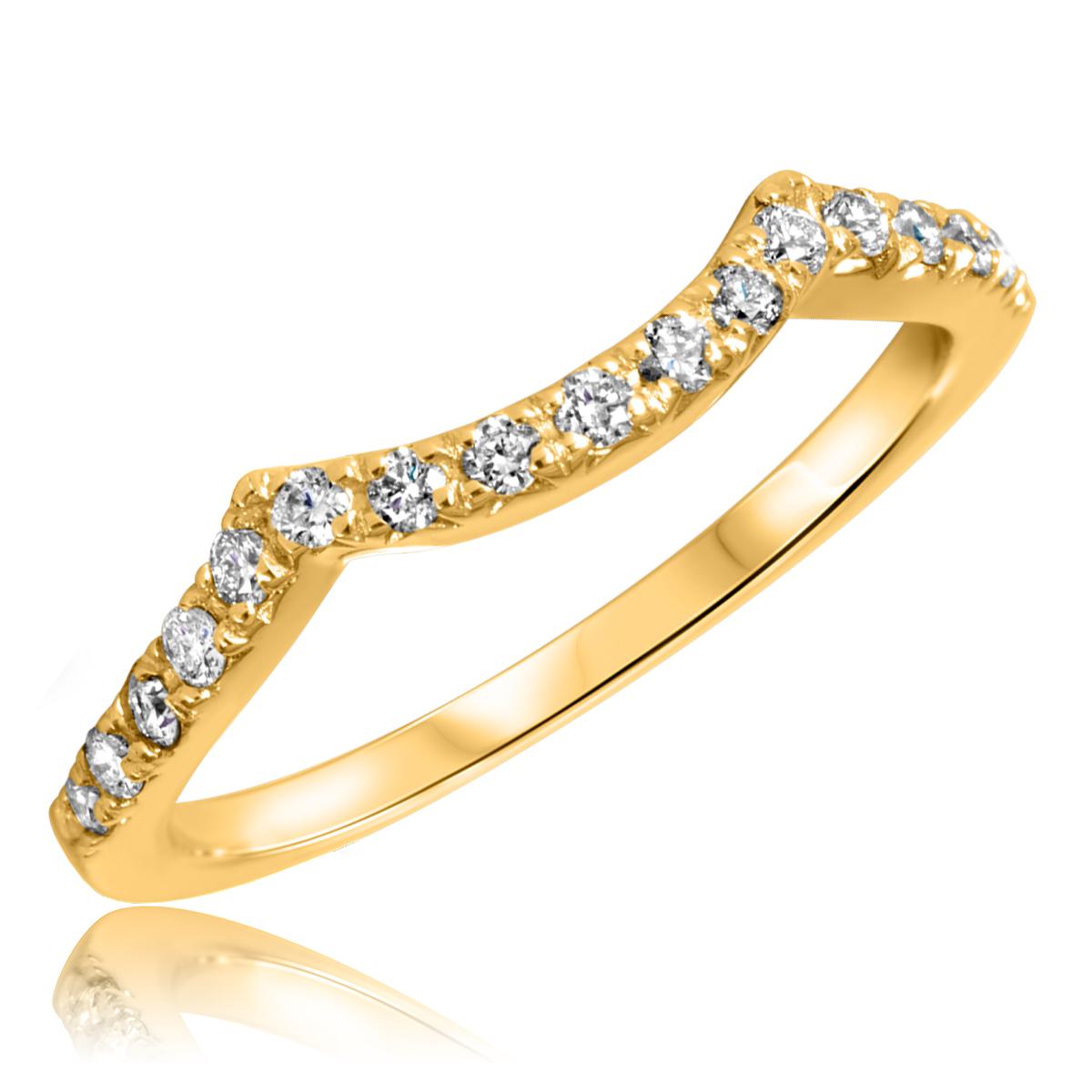 1/3 Carat T.W. Round Cut Diamond Ladies Wedding Band 10K Yellow Gold- Size 8