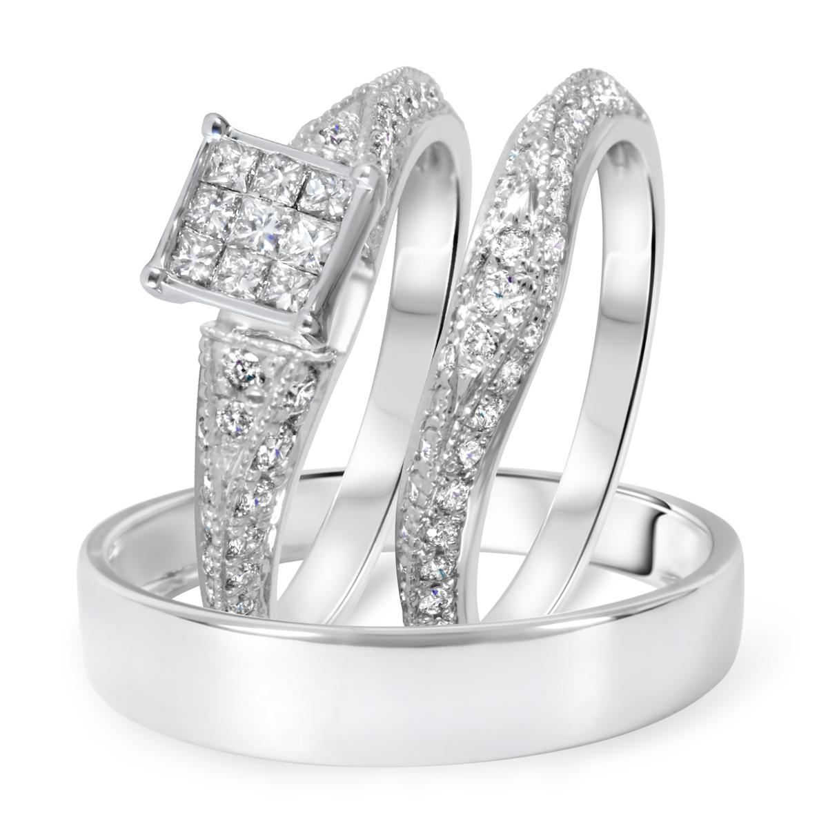 1 1/8 CT. T.W. Diamond Ladies Engagement Ring, Wedding Band, Men's Wedding Band