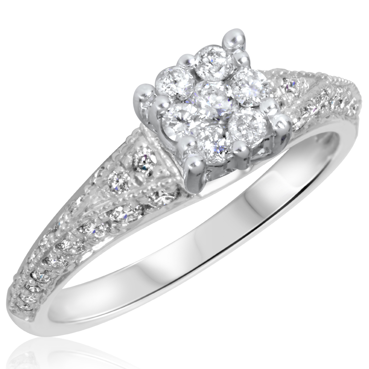 3/4 CT. T.W. Diamond Ladies Engagement Ring 10K White Gold- Size 8